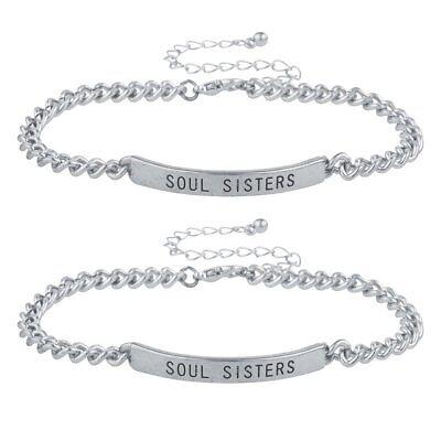 Lux Accessories Silver Tone Soul Sisters BFF Best Friends ID Bracelet - Best Friends Bracelet