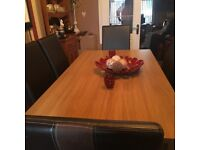 Oak Veneer Dining Table With Six Chairs