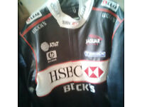 Leather Stylish Biker Racing HSBC hp becks black jacket
