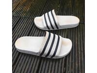 Adidas white sliders flip flops size 6
