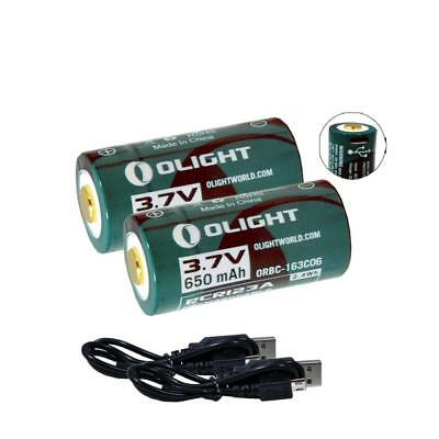 Olight 650mAh 3.7V Li-Ion USB Rechargeable RCR123A Batteries w/ Cable (2 Pack)