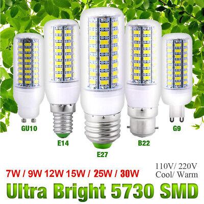 E14 E27 B22 GU10 G9 SMD5730 LED Corn Bulb Light 7-30W Cool Warm White Spotlight Bulb G E Lighting