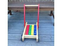 John Lewis Wooden Baby Walker with coloured wooden blocks