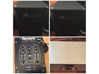 DJ SOUND SYSTEM SET UP, AMP, CAB SPEAKERS, MIXER, CABLES, EX COND