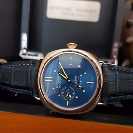 New mens bagged and boxed Radomir Panerai 8 Days watch blue dial with blue leather strap