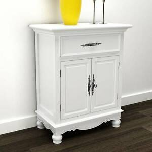 White Wooden Cabinet 2 Doors 1 Drawer (SKU 241375) vidaXL Mount Kuring-gai Hornsby Area Preview