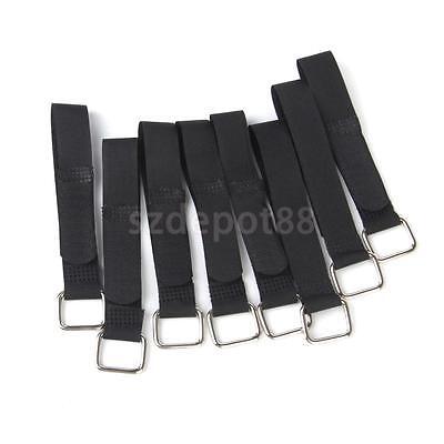 10pc Nylon Hook & Loop Fastener Straps with Metal Buckle 1.8 x 22cm Reusable
