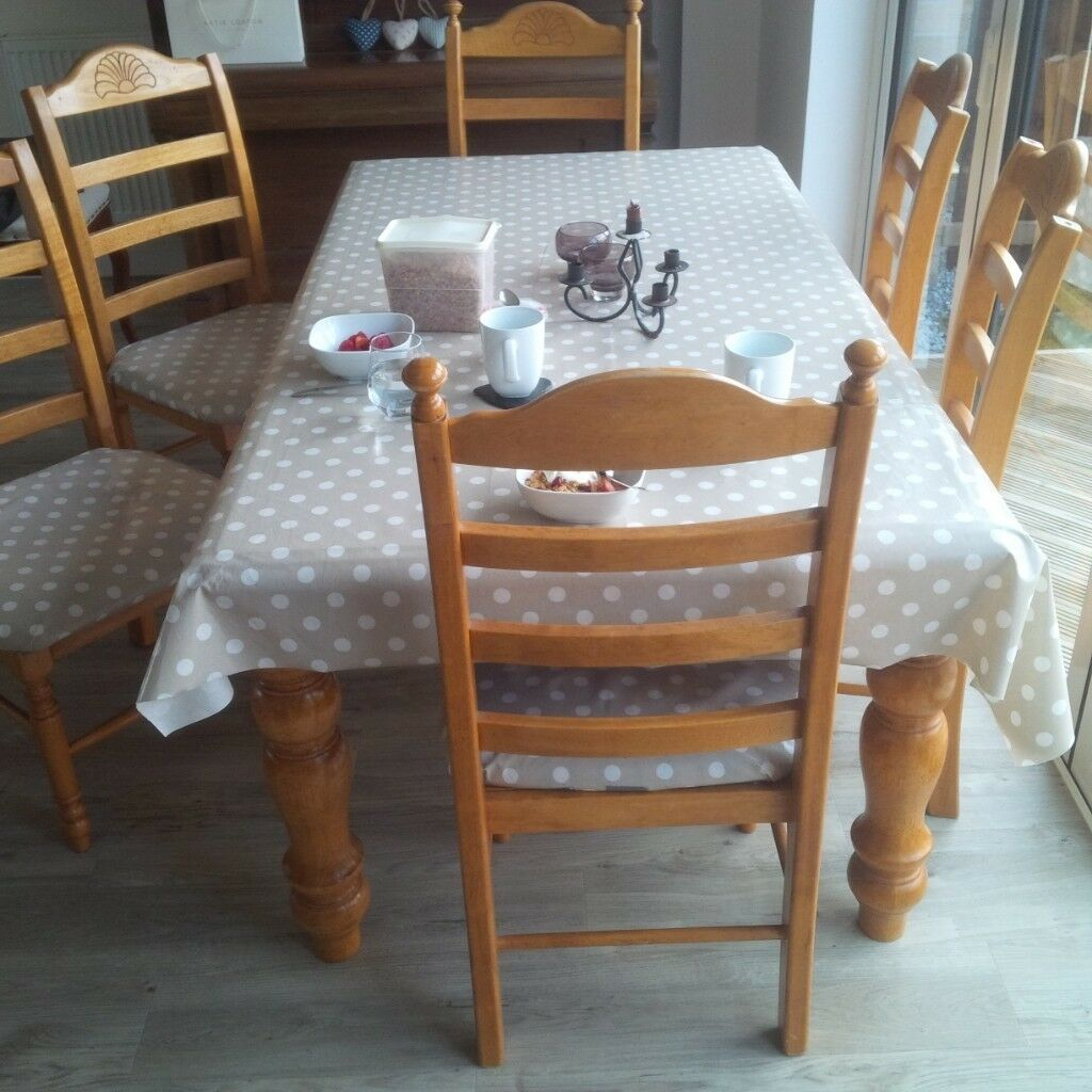 Dining Table And 6 Chairs Solid Wood Legs Detachable Will Separately