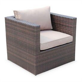 [1xSingle + 1xMiddle + 1xFootstool] 5seater rattan sofa, brown. Aluminium frame. Ready assembled