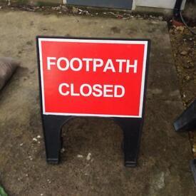 Footpath closed road traffic sign