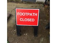 Footpath closed road traffic sign