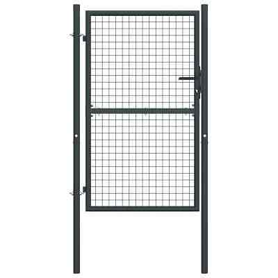 vidaXL Mesh Garden Gate Galvanised Steel Grey Entrance Door Backyard Barrier