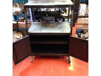 Barbecue Stand. or many other use cabinet. Solid Steel with Large wheels for moving with ease