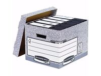 Box of 10 Fellows bankers box. Large file storage boxes. New and packed.
