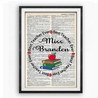 Personalized Best Teacher Ever Dictionary Art Print Contemporary Teachers