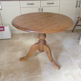 Pine Pedestal Table and 4 Beech slat backed Chairs