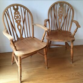 Two 'Captain' Pine Dining Room Chairs