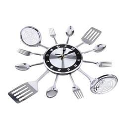 Kitchen Cutlery Utensil Spoon Fork Wall Clock Creative Modern Wall Decor