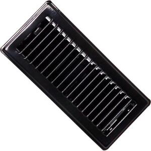 "( Pack Of 10 ) RG0230 Standard Floor Registers - Louvered Design - Steel - Black Painted - 4""x 10"" Floor Register"