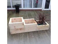 Handmade set of 3 chunky wood planters