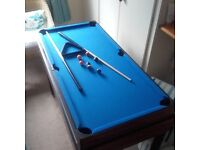 Three in one games table,125x62cms inc pool,table football and air hockey. Excellent condition.