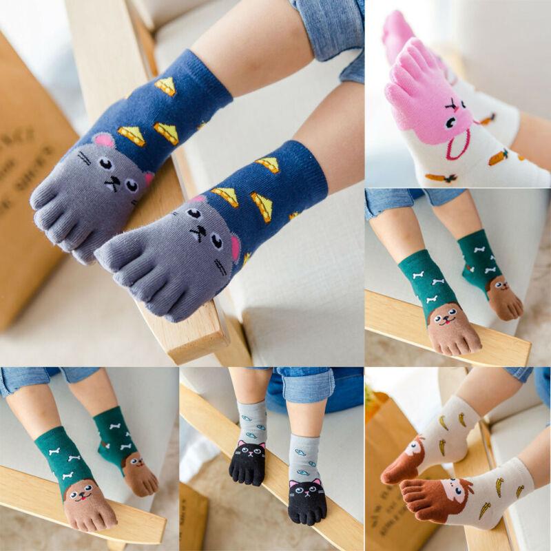 Boys Girls Cotton Toe Socks Cute Kids Baby Hosiery Five Fing