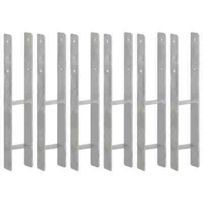 vidaXL 6x Fence Anchors Silver Galvanised Steel 10x6x60cm Ground Spike Stake