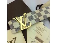 White chequered smooth soft men's leather belt Versace boxed complete perfect gift