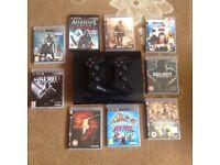 PS3 super slim 500gb plus 9 games