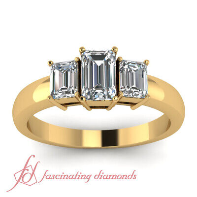 1.20 Ct 3 Stone Emerald Cut Diamond Engagement Ring In Yellow Gold For Women GIA 1