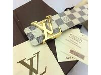 White chequered leather belt for men versace boxed with papers amazing finish complete gift