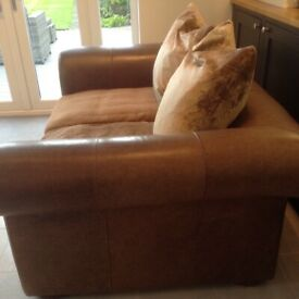 Brown Leather and Fabric 2 seater