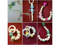 Hand made personalised dummy clips, key rings and theethers