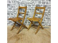 2x Vintage/Antique Childrens Foldable Chairs