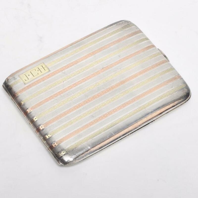 VINTAGE STERLING CIGARETTE/CARD CASE W/ 14K GOLD BANDING