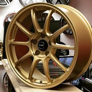 FAST DIME GOLD 18x8 5x114.3 +35 ( 4New Rims $750+Tax) @Zracing 905 673 2828 Rims Wheels Honda Subaru STI