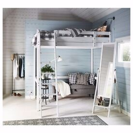 White Ikea loft bed with matress, continental double size. Hardly used selling due to house move.