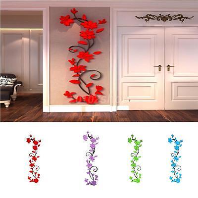 Vinyl 3d Blume Wandaufkleber Wandbild Wandtatoo Tapete Abziehbild Wand Dekor ()