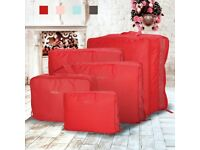 Red 5pcs Clothes Underwear Sock Packing Cube Storage Bag Travel Organizer