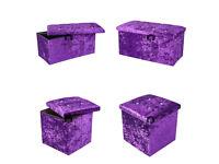 Single + Large Purple Crushed Velvet Diamante Ottoman Folding Storage Box Footstool Seat