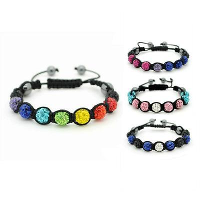 LGBT PRIDE SHAMBALLA BEAD BRACELET 10mm Crystal Gay Lesbian Bi Trans Leather NEW