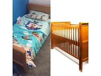 Pine Baby/Toddler Cot Bed with Mattress