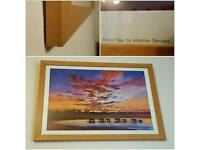 African Sunset Artist Print Picture in Solid Beech Frame.