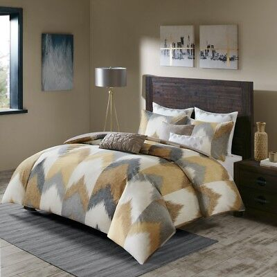 King/Cal King New Alpine 3 Piece Comforter Mini Set Pine, Cotton Yellow INK+IVY