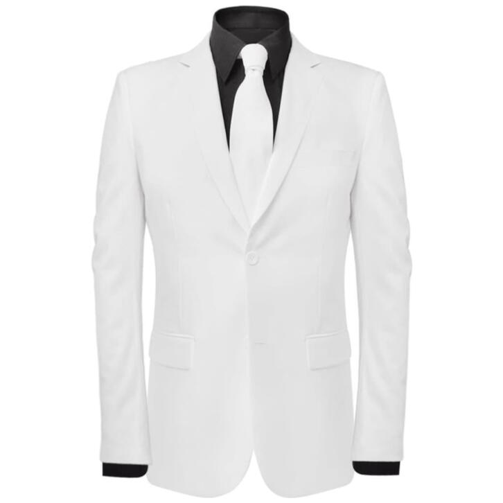 vidaXL Costume pour hommes avec cravate 2 pièces Blanc Taill