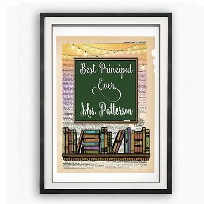 Personalized Best School Principal Ever Dictionary Art Print Custom