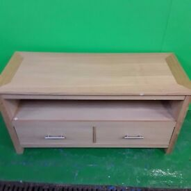 oak style tv unit with 2 draws