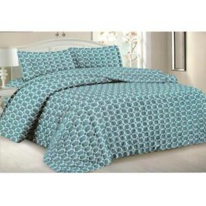 Todd Linens Queen Bedspread 3-Piece Quilt Set Soft Bedding - Microfiber Coverlet + 2 Pillow Shams (Blue Geometric)