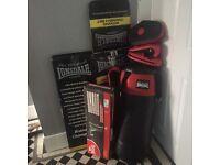 Punch Bag - Bundle - Lonsdale (gloves, Mits, bracket)