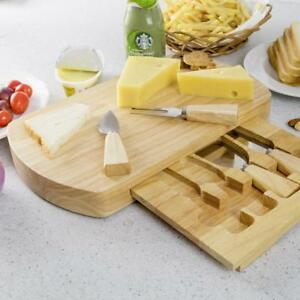 5 PC Wood Cheese Board Knife Set 4 Stainless Steel Knife Slide Out Cutting Board - BRAND NEW - FREE SHIPPING